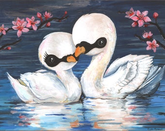 """Forever - 11"""" x 14"""" - high quality print swans in love with cherry blossoms"""