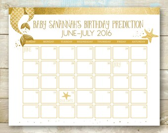 Mermaid Gold Guess the Due Date Calendar - Baby Shower Birthday Prediction - Mom and Baby Mermaid Tail Printable DIY JPEG
