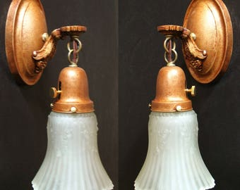 Antique Lighting: Set Of TWO Early 1900s Wall Sconces With Elegant Pressed  Glass Shades