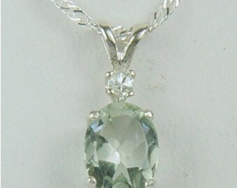 Memorial Day Sale Prasiolite Necklace Sterling Silver Green Amethyst 9x7mm Oval 1.70ct With White Sapphire Accent