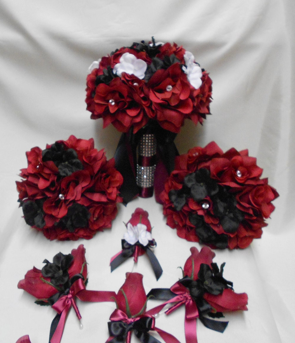 Wedding silk flower bridal bouquets 18 pces package burgundy zoom mightylinksfo