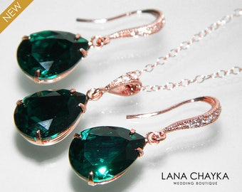 Emerald Green Rose Gold Jewelry Set Emerald Earrings&Necklace Bridal Set Swarovski Emerald Wedding Green Pink Gold Jewelry Set Prom Jewelry