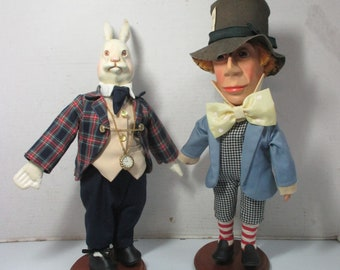 "Strong Museum of Play Alice in Wonderland Series Dolls - Mad Hatter 15"" Tall & White Rabbit 14"" Tall  Dated 1998"