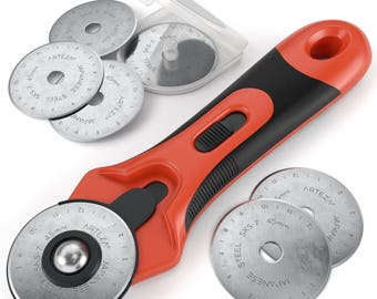 Arteza 45 mm Quilting Rotary Cutter & 6 Replacement Blades (Set of 7)