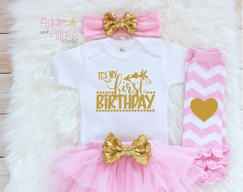 My First Birthday Outfit Girl, 1st Birthday Pink and Gold Outfit, Cake Smash tutu, Girl 1st Princess Birthday Outfit, It's My Birthday, B1P