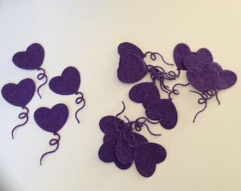 20 purple die cut glittery balloons