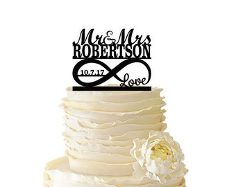 Infinity Symbol With Love - Mr and Mrs - Personalized With Name and Date -  Acrylic or Baltic Birch Wedding/Special Event Cake Topper - 104