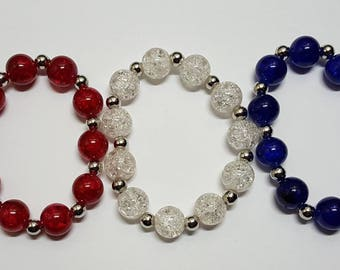 Patriotic Jewelry, Patriotic Bracelet, July 4th Jewelry, July 4th Bracelet, Beaded Bracelet, Beaded Stretch Bracelet, Red, White, and Blue
