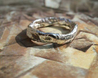 Silver Melted, Reticulated, Fused, Molten Ring, Abstract, Textured Ring, Organic Design, Melted Silver Ring