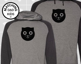 SALE! Matching Dad & Daughter Cat Hoodies | Father Son Matching Shirts | Dad Son Matching Shirts | Cat Gift for Dad | Daddy and Me
