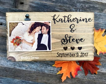 Personalized wedding frame, Wedding picture frame, Custom wedding frame wood, Rustic picture frame, Custom wedding gift, Wood wedding frame