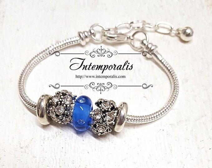 Blue lampwork bead charm bracelet, european style bracelet , OOAK, SABRLW01