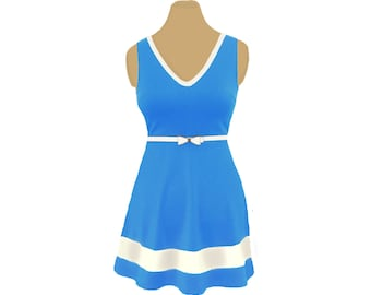 Light Blue + White Skater Dress