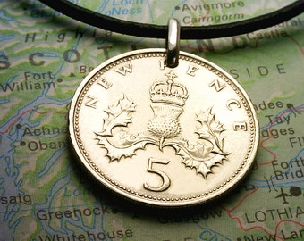 SCOTLAND  ( Crowned Thistle - 5 New Pence ) - Genuine 23.6mm Coin Pendant -- Unique Gift - 5b4