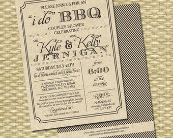Rustic Kraft I Do BBQ Invitation Rehearsal Dinner Engagement Party Couples Shower Wedding Shower Birthday Party Milestone Birthday Any Event
