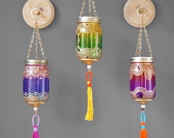 Boho Decor Wall Hanging Mason Jar Wall Decor Housewarming Gift Votive Candle Holder Best Friend Gift Home Decor Moroccan Lamp Wall Vase