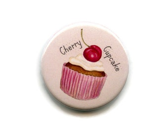 Cherry Cupcake Magnet Cake Magnet, 38mm Round Button Baking Cooks Fridge Magnet