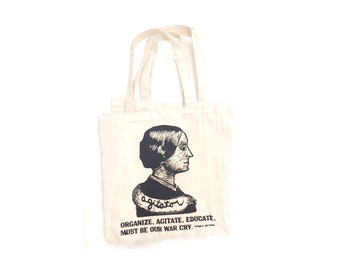 Susan B. Anthony - Tote Bag - Women's Rights - Activist Gift - Feminist Gift - American History - Linocut - Bags - Totes - Canvas Tote