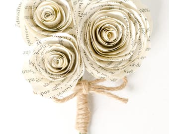 Rose Corsage / Boutonniere made from Book Pages - IN YOUR COLORS - Wedding Flowers for Mothers, Grandmothers, Groomsmen
