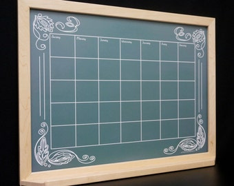 "Green ""Artisan Chalkboard"" Framed Wall Calendar Dry Erase Board - Whiteboard Command Center Monthly Organizer Perpetual Chalkboard Calendar"