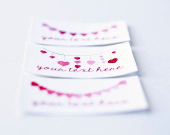 37 Heart Banner Labels, Personalized Iron On Custom Tags