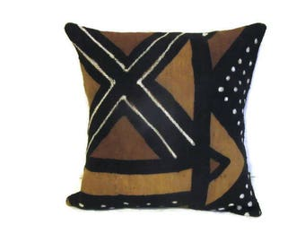 Pillows, Covers, African Mudcloth, Cotton, Woven, Handpainted, Tribal, Boho, Rustic, Home Decor, Natural, Handmade, Kwanzaa, Gifts For Her