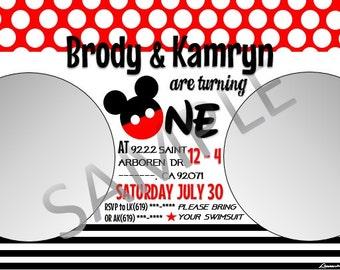 Mickey mouse first birhday invitation