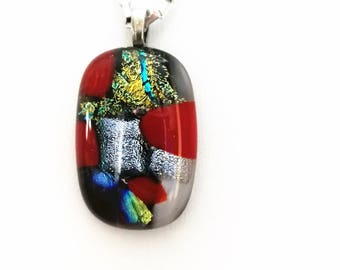 Necklace with fused glass and Dichroic pendant, colors, red, silver, gold, black, blue chain stainless steel 17 1/2