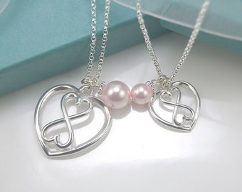 Mother daughter set - Mother Daughter heart Infinity necklace set, Heart Infinity necklaces, Love Forever