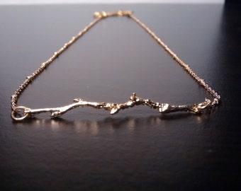 Minimalist necklace | Tree branch | Gold 16K