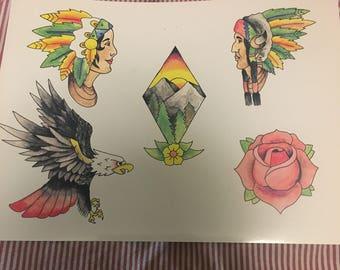 Nature/ Native American Traditional Tattoo Flash