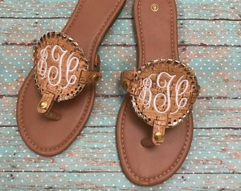 Cork Monogrammed Sandals Sizes 6-11 (three styles available)