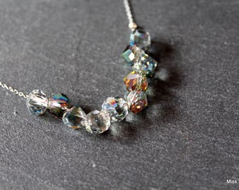 The Choker necklace in stainless steel and crystal clear and blue