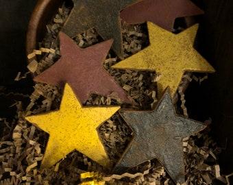 Primitive Americana Stars Bowl Fillers, Navy, Mustard, Burgundy