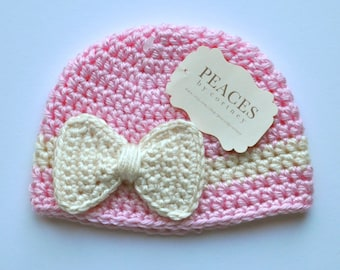 Newborn Baby & Co Hat - Pink and Off White Bow Baby Hat