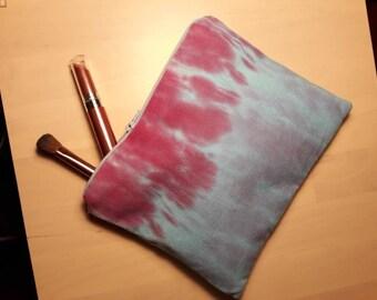 Hand-dyed Pink and Blue Shibori Tie-Dye Pencilcase/Makeup Bag