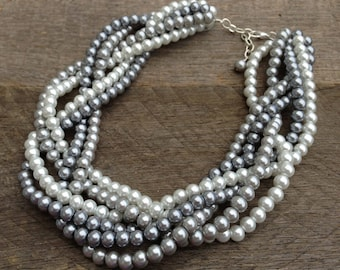 Grey White Pearl Statement Necklace, Multi Strand Wedding Necklace, Chunky Braided Necklace on Silver Chain