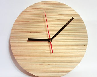 Wooden clock, plywood clock, wall clock, modern clock, wooden gift, handmade clock