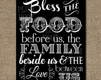 Kitchen Blessing/Prayer Art Printable. Instant Download. (11x14 and 16x20 DIY, Printable) black and white print