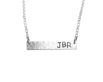 Bar Necklace - 3 Initials
