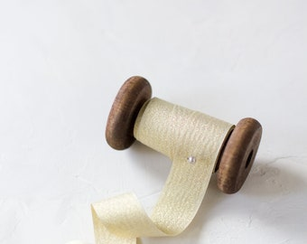"""Pale Gold Sparkle Ribbon (with Wooden Spool) - 5 yards - 3/4"""" wide"""