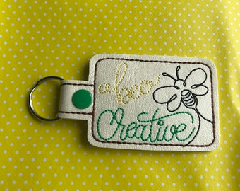 Bee creative embroidered key fob