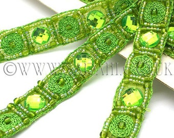 LIME GREEN LILAC rhinestone beaded trim,trimming,costume,sequin,edging,stones,beads,costume,fashion,art,crafts,sewing,embellishment