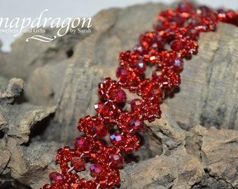 Sparkly deep red crystal lace bracelet
