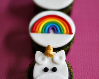 Fondant Rainbow and Unicorn Toppers for Cupcakes, Cookies or Brownies