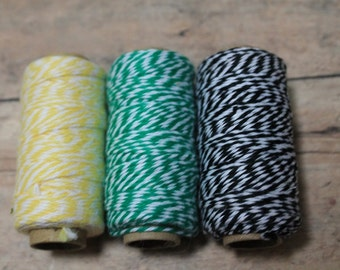 Bakers Twine-yellow,green,&black bakers twine-gift wrapping-scrapbooking-country decor-colored string-spools of twine-holiday gift wrap