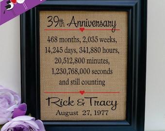 39th anniversary, 39th wedding anniversary gift, 39th anniversary gift for him, 39th anniversary gift for her, 39th anniversary (ann302-39)