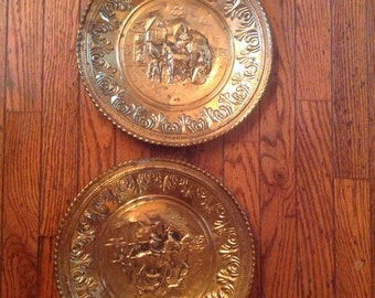 Vintage Made in England Brass Plate Set