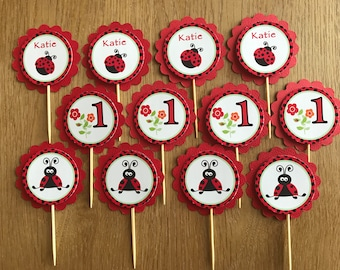 LadyBug Personalised Cupcake Toppers ~ Birthday Party, Christening, Baby Shower, Naming Day