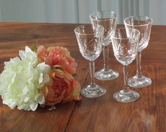 glasses,  liqueur glasses, after dinner glass, 4 in a set, bride groom gift, maid of honor gift, celebration glasses, timelesspeony